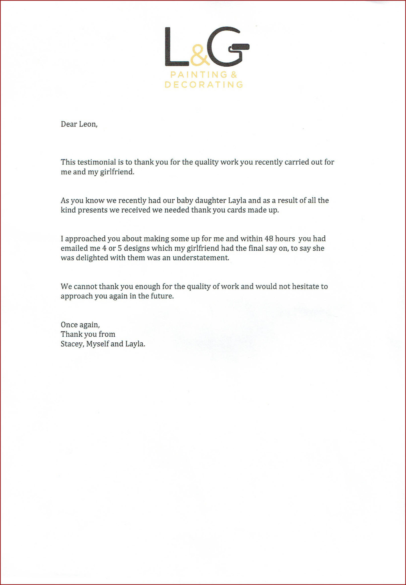 L&G, customer testimonial