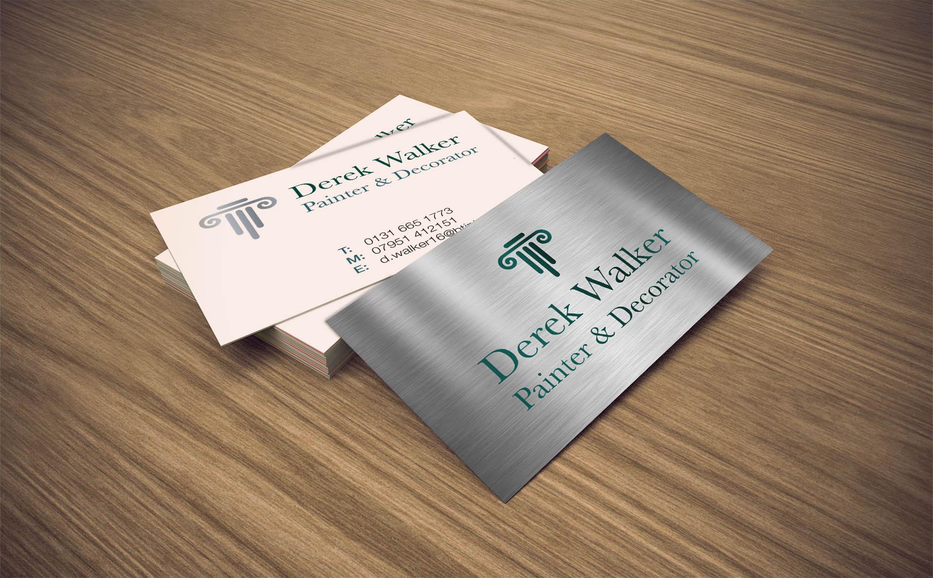 Derek Walker Painter & Decorator Design print buiness cards Edinburegh Fearless Creative