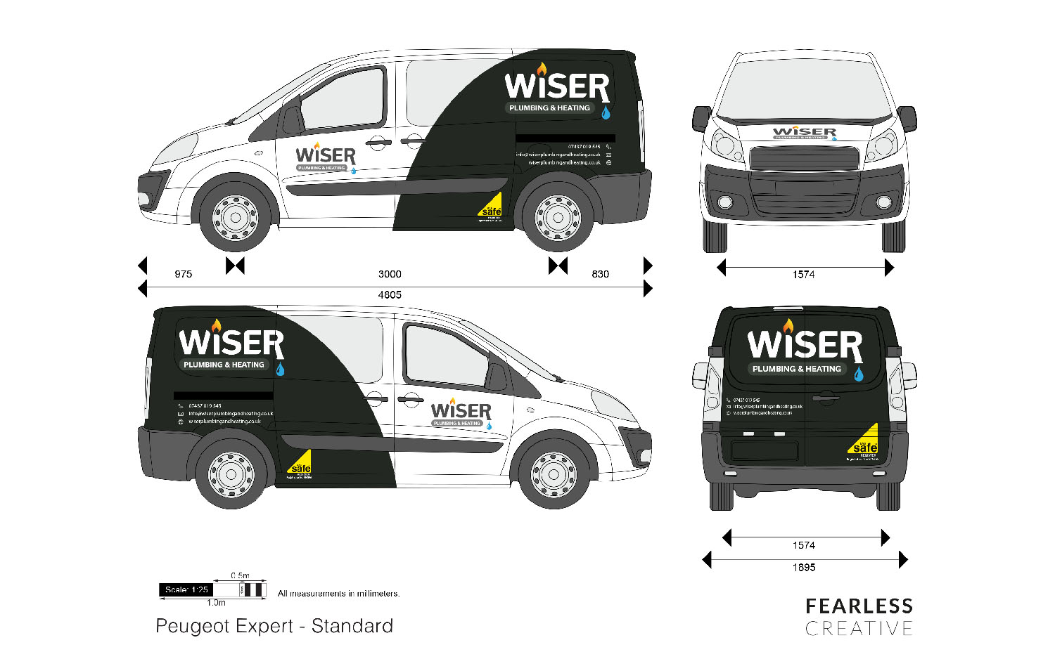 Wiser Plumbing & Heating, Van Vinyls, Vehicle Livery in East Lothian and Portobello designed and supplied by Fearless Creative